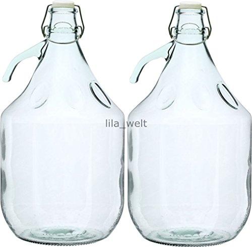 2 STÜCK 5L Gärballon mit BÜGELVERSCHLUSS Flasche Glasballon Weinballon Bügelflasche Glasflasche kostenlose Lieferung