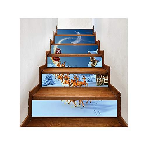 Sammoson holiday 3d natale babbo natale modello scale decalcomanie adesivi natale decorazioni per la casa - set (6pcs) adesivo per scale di natale