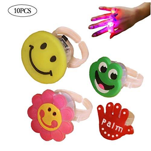 AMOYER 10Pcs Outlet Blinkende Bunte Light Up Bumpy Jelly Gummi-Ring-Finger-Spielwaren Für Parties Event Bevorzugungen Raves Concert Show-Geschenke (Zufällige Farben)