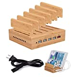 Homesave USB ladestation Holz, 5-Port 6A 30W USB Charging Dock für Smart Cellphone & Tablets Bamboo,EU