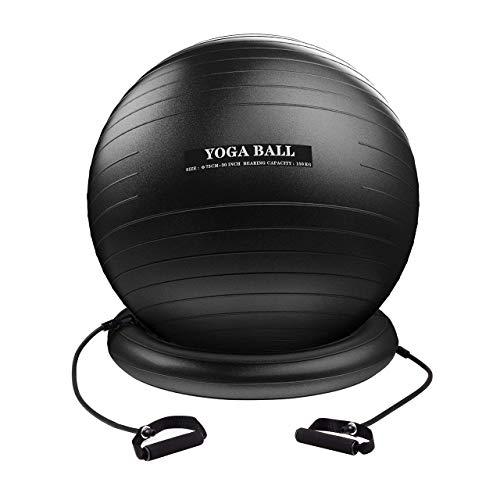 Homitt Gymnastikball, 330 lbs Yoga-Ball Anti-Burst Pezziball, Büro Sitzball 75cm inkl. Fusspumpe und Maßband, Fitnessball für Training zu Hause und Gym (75 cm)