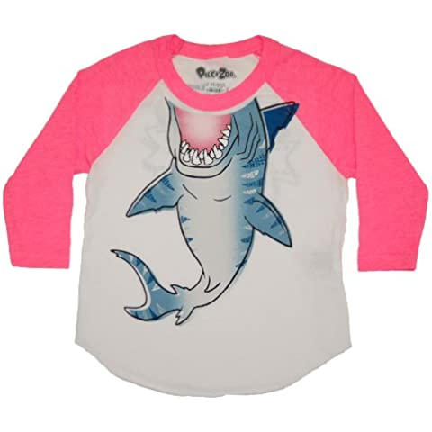 Peek A Zoo 3/4 Sleeve Animal Raglan - Shark, Pink, 4T by Peek A Zoo