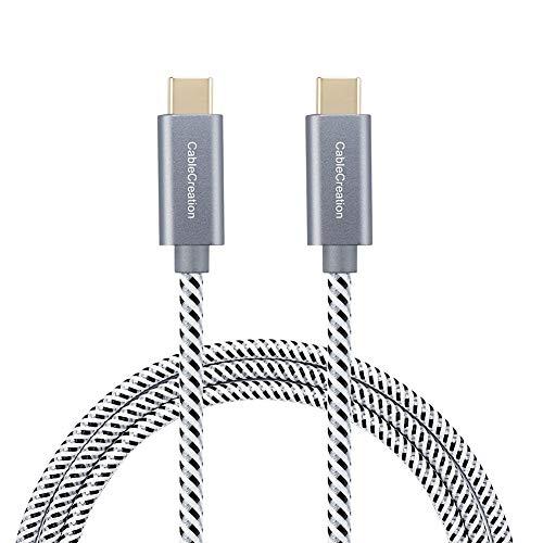 CableCreation USB Typ C Verlängerung Kabel (3A), SuperSpeed 10Gbps 10 ft, USB c Extender, USB 2.0 Typ C Stecker auf Stecker, 3M/Schwarz und Weiß (10ft Kabel)