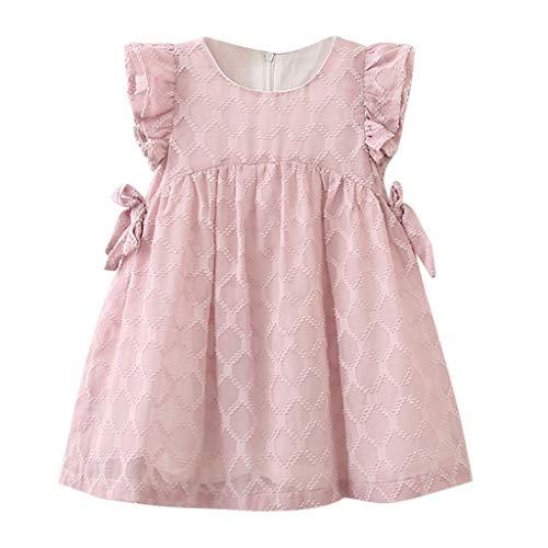 VJGOAL Mädchen Kleider, Kinder Baby Sommer Süß Volltonfarbe Chiffon Doppelbogen Fliegender Ärmel Prinzessin Rock Dresses for Girl ()