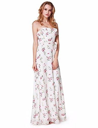 Ever Pretty Damen Elegante Romantische strapless Flora gedruckt Brautjungfer Kleider 48 Größe Weiß (Kleid Strapless Brautjungfer)