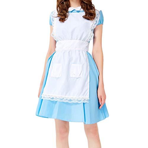 Andouy Damen Oktoberfest Midi Trachtenkleid Cosplay Kostüme Kleid, Oberteile, - Öffentliche Figur Kostüm