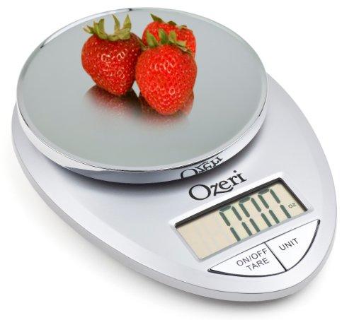 Ozeri Balance de cuisine numérique professionnelle , 1 g à 5,4 kg , Argent
