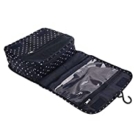 Frcolor Printed Multifunction Portable Travel Toiletry Bag Cosmetic Makeup Pouch (Navy Blue Dot)