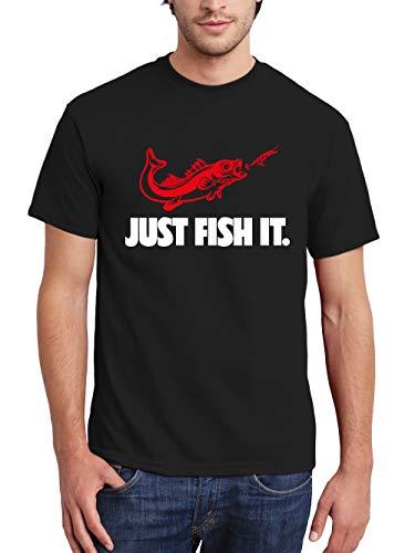clothinx Herren T-Shirt Angler Sprüche Just Fish it Schwarz/Weiß/Rot Größe 3XL