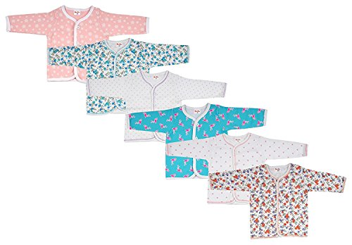Baby Fly Cotton Front Open Full Sleeves T-Shirt, 0-6 Months (Multicolour) - Set of 6