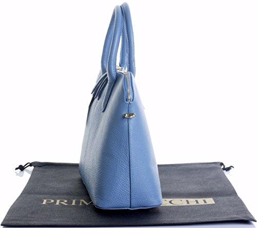 Italiano martellata Bowling stile borsetta Tote Grab Bag o borsa a tracolla in pelle.Include una custodia protettiva marca Blu denim
