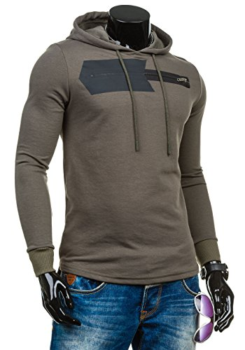 BOLF – Sweat-shirt – Manches longues – U-neck – BREEZY 9093 – Homme Kaki