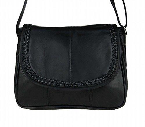 Kleine Lambskin Damen Leder Tasche Handtasche Überschlag Umhängetasche Schultertasche Clutch Damentasche Ledertaschen (Schwarz 6627 (22x19 cm))