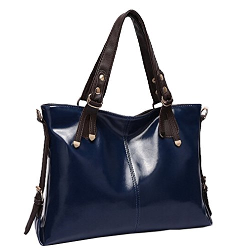 Wealsex Handtasche Damen Elegant Kunstleder Schultertasche 39/26/13 cm (B*H*T) Blau