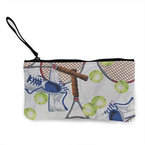 TTmom Damen Leinwand Geldbörse Portemonnaie Geldbeutel, Crazy Tennis Wallets for Women Card Holder Zipper Purse Phone Clutch Wallet Wristlet with Wrist Strap -