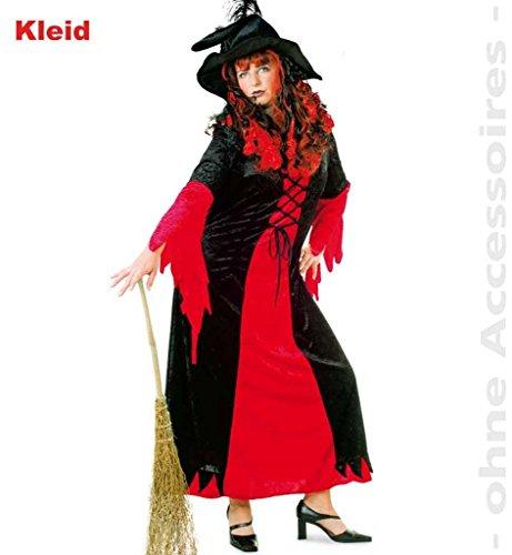 Damen-Kostüm Hexen-Kostüm Hexerei Hexe Zauberei Zaubern rot schwarz langes Kleid