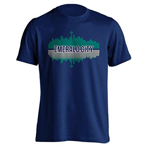 Seattle Smaragd City Downtown Skyline Sport Erwachsene Short Sleeve T-Shirt, Herren, Navy, Small Seattle Mariners Team-design