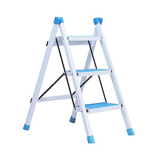 WSSF- Eisen Klapp Fischgrät Leiter 3 Schritt Hocker Klettern Hoch Pedal Leiter Rutschfeste Küche Hocker Hausgarten Werkzeug DIY Sicherheit Trittleiter Faltbar (Farbe : Blue)