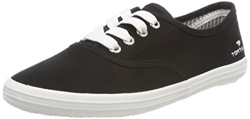TOM TAILOR Damen 4892401 Schlichter Sneaker, Schwarz (Black), 37 EU