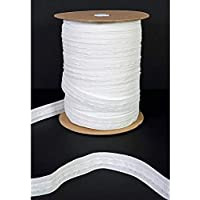 The Bead Shop 25mm 1 inch White Pencil Pleat Curtain Header Tape 10 Meters, Detachable Curtain