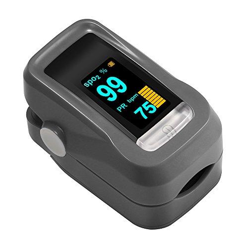 Saturimetro Pulsossimetro Digitale Portatile con Display OLED per Frequenza Del Polso (PR) e La Saturazione di Ossigeno (SpO2) Misure, Batterie AAA non Incluse (nero)