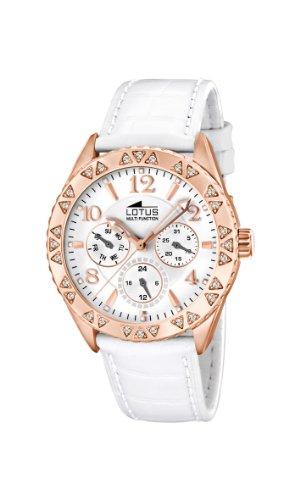 Lotus 15870/1 - Reloj analógico de cuarzo para mujer, correa de cuero color blanco (agujas luminiscentes)