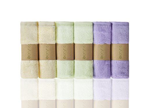 Beryris Bambus Baby Waschlappen (6er-Pack) ultra-weich, super absorbierende Handtücher | Schonend auf empfindliche Haut für Säuglinge, Kleinkinder | Natürlich antibakterielle, hypoallergene