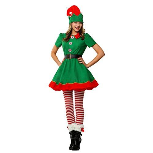 (BESTOYARD Weihnachtskostüm-Set Mädchen Festliche Elf Outfit Urlaub Santa Elf Kostüm Fancy Dress up Xmas Kleidung Anzug - 170CM (Grün))