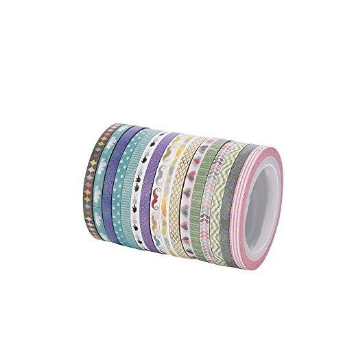 Cute 3mm breit Skinny Washi Tape mit bunten Designs und Mustern–Perfekt für Planer, Dekorieren, Scrapbooking