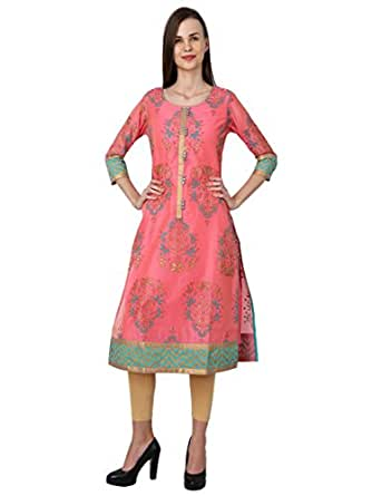 BOHO MONK A-line CHANDERI Mirror Work Pink Kurti for Women
