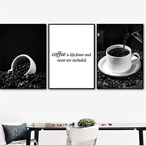 YANGMENGDAN Canvas Painting Black White Coffee Cup Love Quote Wall Art Canvas Painting Nordic Posters and Prints Wall Pictures For Living Room Kitchen Decor-50x70cm No Frame