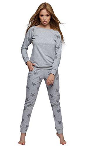 Sensis modischer Baumwoll-Pyjama Schlafanzug Hausanzug aus langarmem Oberteil und langer Hose, made in EU (S (36), hellgrau mit Sternen)