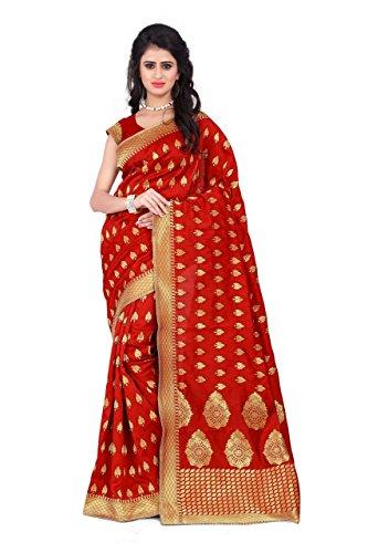 Sarees (Women's Pink Banarasi Silk Saree with Blouse Piece Banarasi Work Saree)