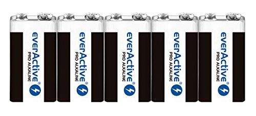 everActive 9V Batterien 5er Pack, Pro Alkaline, Block 6LR61 6F22, höchster Leistung, 5 Jahre Haltbarkeit, 5 Stück -