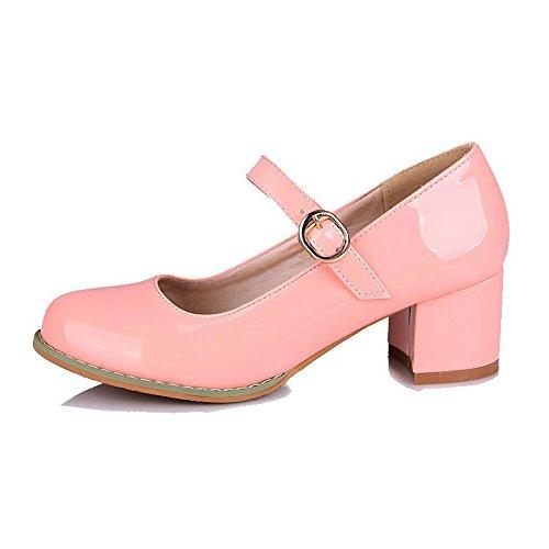 VogueZone009 Damen Rein Lackleder Mittler Absatz Schnalle Rund Zehe Pumps Schuhe Pink