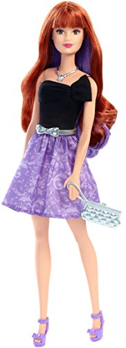 Barbie Mattel DNR04 Day to Night Style Doll Puppe Twist to Change Hair from Red to Purple and Glamourous Accessories