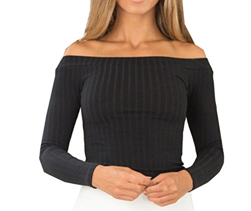 Monika Femme Sexy Épaules Nues Col Bateau Pulls Haut Court Tricot Printemps Automne Chic Tops à Manches Longues Chemisiers Blouses Noir