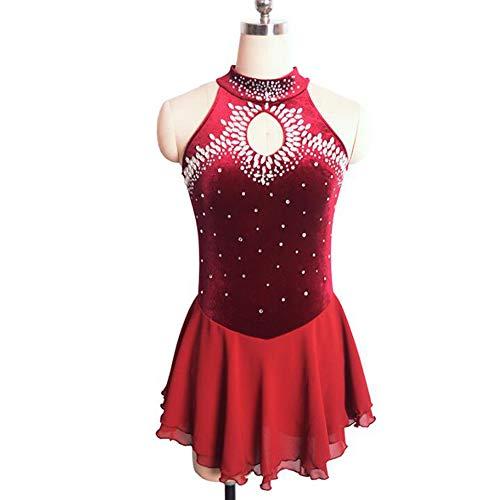 XIAOY Handarbeit Eiskunstlauf Kleid für Mädchen Frauen Wettbewerb Leistung Kostüm Sleeveless Velvet,Red,XXXS
