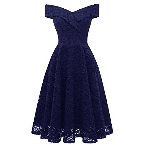 Robe de Soirée Femmes/Demoiselle d'honneur/Bal Col en V sans Manches Dentelle Cocktail épaule Parti Robes Danse Bal Cérémonie Covermason (XL, Bleu)