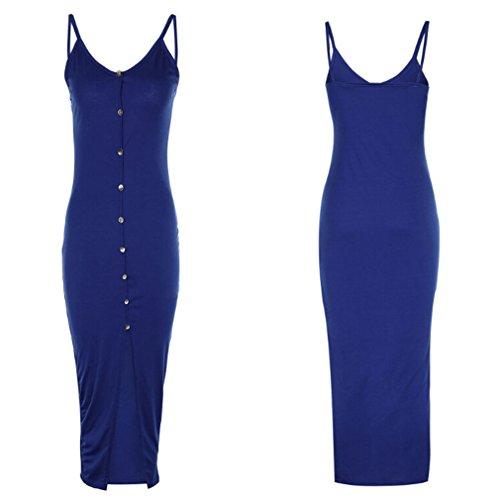 Yinew Damen Knopf Kleid Damen Sexy kleid Reizvolles Dünnes Bügel Trägerloses Kleid Navy S