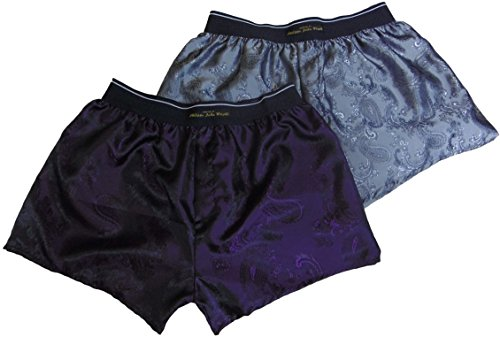 philippe john wright Herren Boxershort Silber Shiny Silver Paisley and ROYAL Purple Gr. L, Silber - Shiny Silver Paisley and ROYAL Purple Royal Silk Boxer Shorts