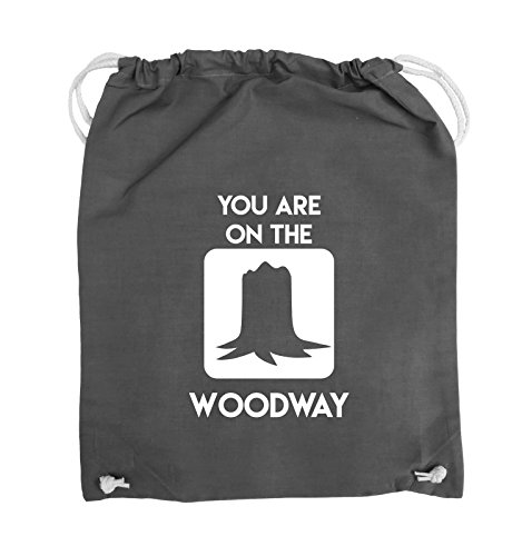 Comedy Bags - YOU ARE ON THE WOODWAY - Turnbeutel - 37x46cm - Farbe: Schwarz / Silber Dunkelgrau / Weiss