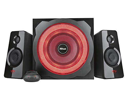 41iBGVrCayL - Trust Gaming GXT 4628 Thunder - Set de Altavoces 2.1 con subwoofer Iluminado, Color Negro
