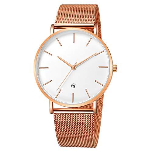 Infinito U-Reloj de Pulsera para Mujer Hombre Reloj de Cuarzo Resistente al Agua Color Oro Rosa