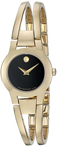 MOVADO WOMEN'S 24MM GOLD PLATED BRACELET SWISS QUARTZ BLACK DIAL WATCH 0606946