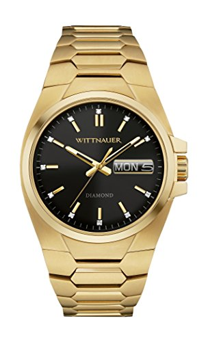 Wittnauer Men's Diamond 41mm Steel Bracelet & Case Quartz Analog Watch...
