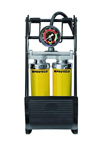 Proteco-Werkzeug® Doppelzylinder-Fußluftpumpe Fußpumpe Tretpumpe Autopumpe Fahrradpumpe Fusspumpe Manometer