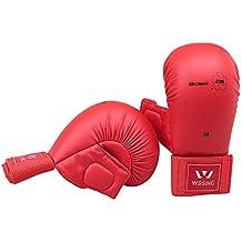 Guantes de karate WKF aprobado Karate guantes por wesing, color red with thumb, tamaño small
