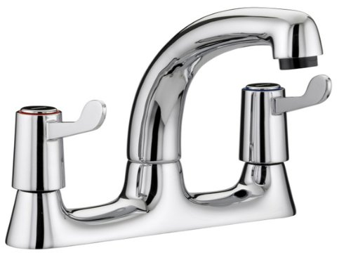 Bristan VAL DSM C 6 CD Lever Deck Chrome Plated Sink Mixer with 6-Inch Levers and Ceramic Disc Valves