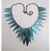 Ice Shards iridescent statement necklace, blue/silver tone, upcycled from CDs